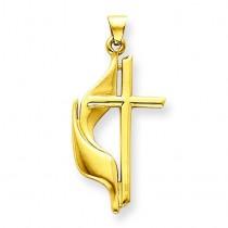 Methodist Cross Pendant in 14k Yellow Gold