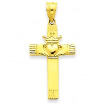 Claddagh Cross Pendant in 14k Yellow Gold