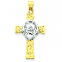 Claddagh Cross Pendant in 14k Two-tone Gold