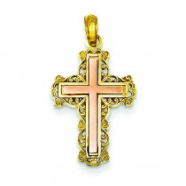 Filigree Fleur De Lis Cross in 14k Two-tone Gold