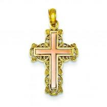 Filigree Fleur De Lis Cross in 14k Two-tone Gold
