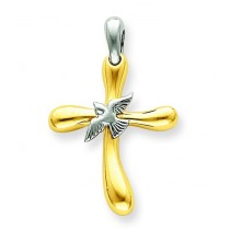 Dove Cross Pendant in 14k Two-tone Gold