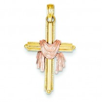 Draped Cross Pendant in 14k Two-tone Gold