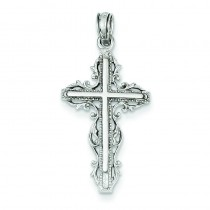 Fleur De Lis Cross in 14k White Gold