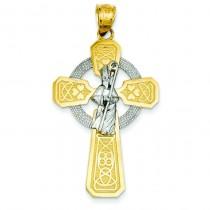 St Patrick Celtic Cross in 14k Two-tone Gold