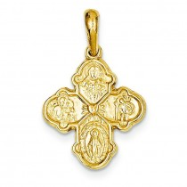 Four Way Cross Pendant in 14k Yellow Gold