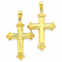 Reversible Cross Pendant in 14k Yellow Gold