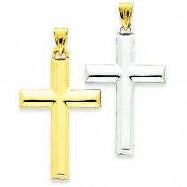 Reversible Cross Pendant in 14k Two-tone Gold