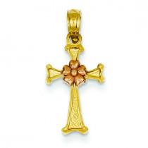 Flower Cross in 14k Two-tone Gold