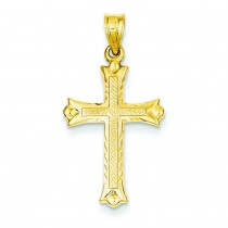 Fleur De Lis Hollow Cross in 14k Yellow Gold