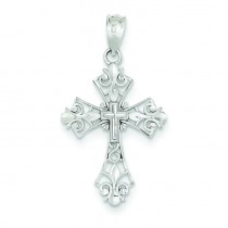Filigree Fleur De Lis Cross in 14k White Gold