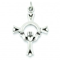 Claddaugh Cross Charm in Sterling Silver