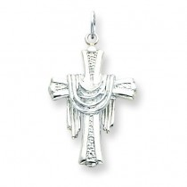 Draped Cross Charm in Sterling Silver