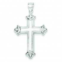 Rhodium Plated Fleur De Lis Cross in Sterling Silver