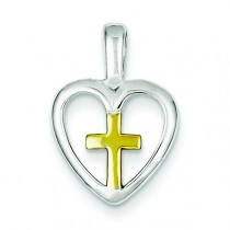 Cross Heart Pendant in Sterling Silver