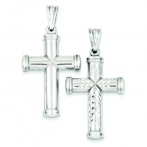 Rhodium Plated  Reversible Cross in Sterling Silver