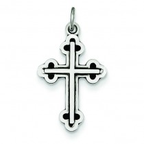 Antiqued Budded Cross in Sterling Silver