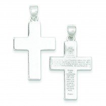 Polished The Lords Prayer Cross Pendant in Sterling Silver