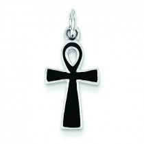 BlacEnamel Cross Pendant in Sterling Silver
