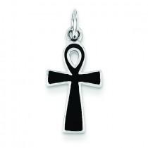 BlacEnamel Cross Pendant in Sterling Silver