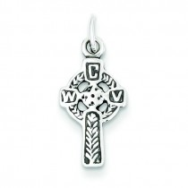 Antiqued Celtic Cross Charm in Sterling Silver