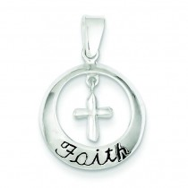 Faith Cross Pendant in Sterling Silver