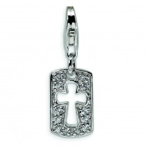 CZ CrossFaith Clip-On Lobster Clasp Charm in Sterling Silver