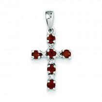 Garnet Diamond Cross Pendant in Sterling Silver