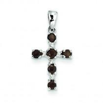 Smokey Quartz Diamond Cross Pendant in Sterling Silver