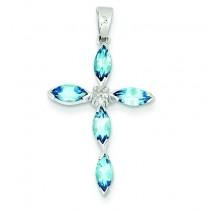 Lt Sw Blue Topaz Cross Diamond Pendant in Sterling Silver