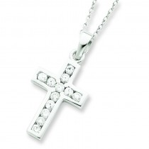 Cross CZ Necklace in Sterling Silver