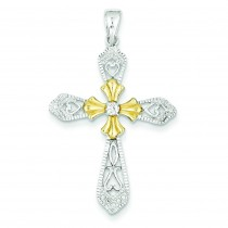 Vermeil CZ Cross Pendant in Sterling Silver