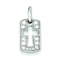 Faith CZ Open Cross Charm in Sterling Silver