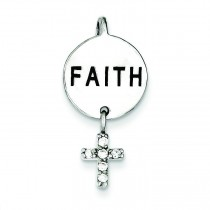 Faith CZ Cross Pendant in Sterling Silver