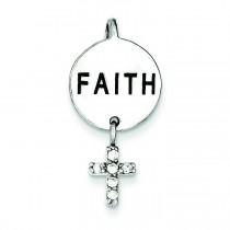 Faith CZ Cross Pendant in Sterling Silver