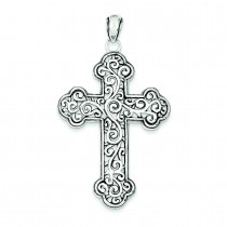 Swirl Cross Pendant in Sterling Silver