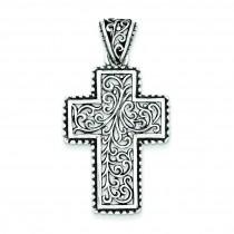 Swirl Cross Pendant in Sterling Silver