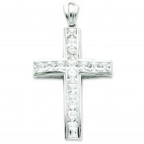 Cross CZ Pendant in Sterling Silver