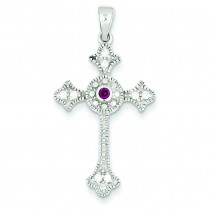 Red CZ Cross Pendant in Sterling Silver