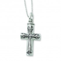 Cross Ash Holder Necklace in Sterling Silver