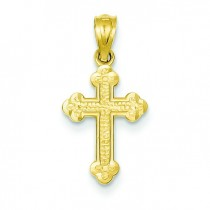 Small Budded Cross in 14k Yellow Gold