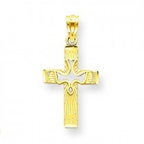 Dove Cross Pendant in 14k Yellow Gold