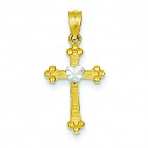 Budded Heart Cross in 14k Yellow Gold