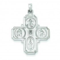 Four Way Cross Pendant in 14k White Gold
