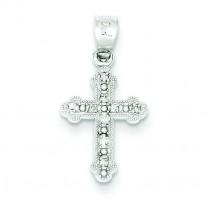 0.16 Ct. Budded Diamond Cross in 14k White Gold