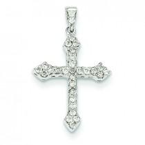 0.23 Ct. Tw. Diamond Budded Cross in 14k White Gold