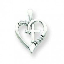 0.048 Ct. Tw. Diamond Heart Cross in 14k White Gold