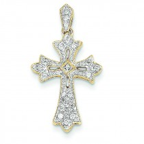 0.17 Ct. Tw. Diamond Budded Cross in 14k Yellow Gold