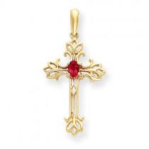 Oval Ruby Cross in 14k Yellow Gold