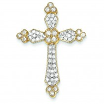 0.78 Ct. Tw. Diamond Budded Cross in 14k Yellow Gold